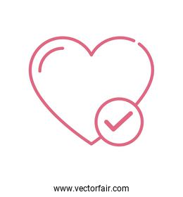 Isolated heart and check mark vector design