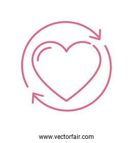 Isolated heart and arrows circle vector design