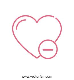 Isolated heart and less mark vector design