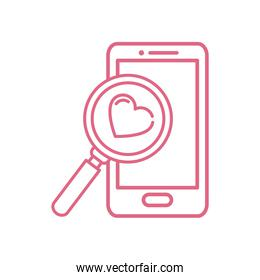Isolated heart inside lupe and smartphone vector design