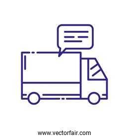 Isolated delivery truck and bubble vector design