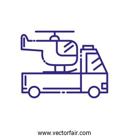 Isolated helicopter over pickup car vehicle vector design