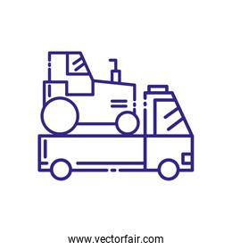 Isolated tractor over pickup car vehicle vector design