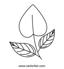 leaf in shape heart line style icon