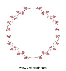 frame circular of leafs in shape heart isolated icon