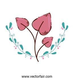 leafs in shape heart isolated icon