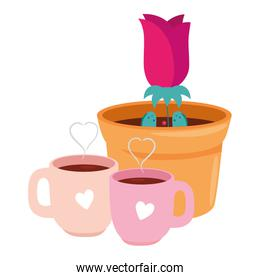 cups coffee with rose flower in pot plant isolated icon