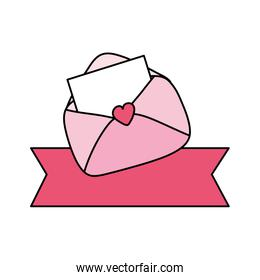 envelope mail with ribbon decoration isolated icon