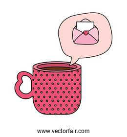 cup coffee and speech bubble with envelope