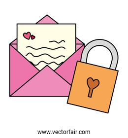 envelope mail with padlock isolated