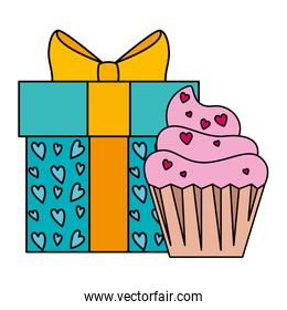 gift box with cupcake isolated icon