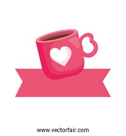 cup coffee with ribbon decoration isolated icon