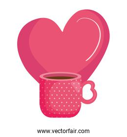 cup coffee with heart isolated icon