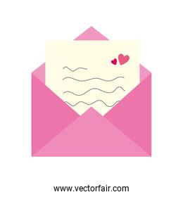 envelope mail with heart isolated icon