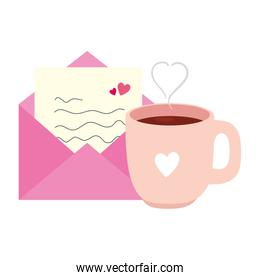 envelope mail with heart and cup coffee