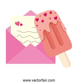 envelope mail with ice cream in stick isolated icon