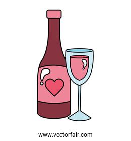 cup glass with bottle wine isolated icon