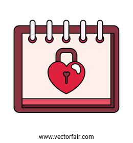 padlock in shape heart in calendar isolated icon