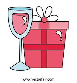 gift box and cup glass with wine