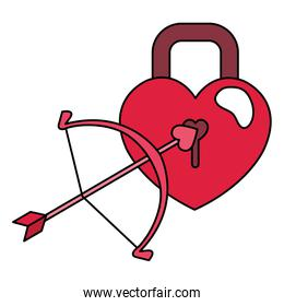 padlock with arch cupid isolated icon