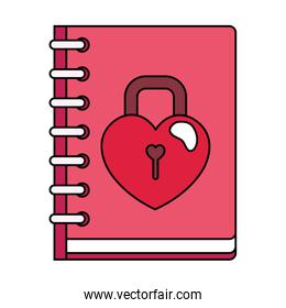 padlock in notebook isolated icon