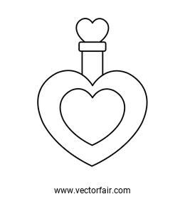 fragrance with heart bottle isolated icon