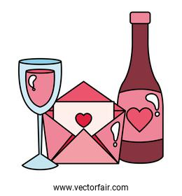 cup glass with bottle wine and pink envelope