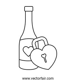 padlock in shape heart with bottle wine isolated icon