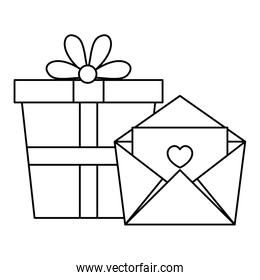 gift box and envelope isolated icon