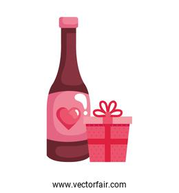 gift box with bottle wine isolated icon