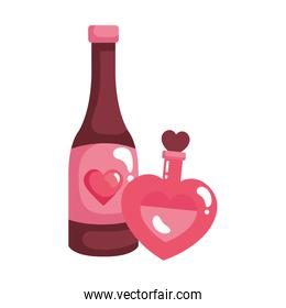 fragrance in heart bottle with bottle wine isolated icon