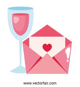 envelope mail and cup glass with wine