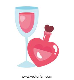 fragrance with heart bottle and cup glass with wine