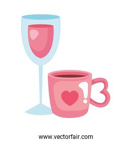 cup coffee and cup glass with wine