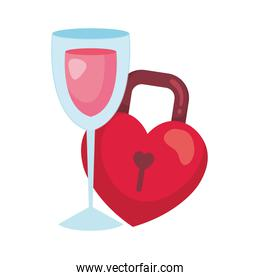 padlock in shape heart and cup glass with wine