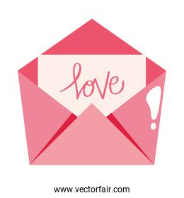 envelope mail with love lettering isolated icon