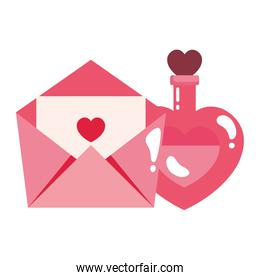 fragrance with heart bottle and envelope isolated icon