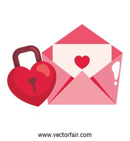 padlock in shape heart and envelope isolated icon