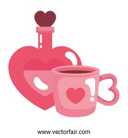 cup coffee and fragrance with heart bottle