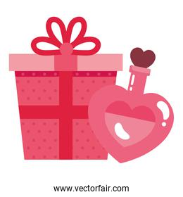 gift box and fragrance with heart bottle