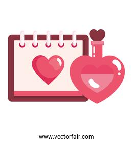 calendar with heart and fragrance with heart bottle