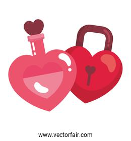 padlock and fragrance with heart bottle
