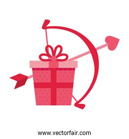 gift box with arch cupid isolated icon
