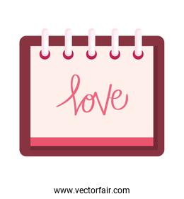 calendar with love lettering in calendar isolated icon