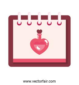 fragrance with heart bottle in calendar isolated icon