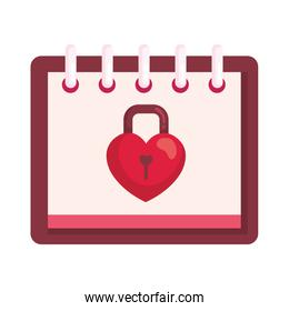 padlock with  shape heart in calendar isolated icon