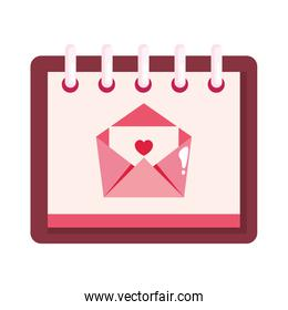 envelope mail with heart in calendar isolated icon