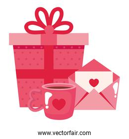 gift box with cup coffee and envelope