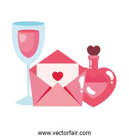 envelope mail and cup wine with fragrance