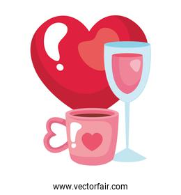 cup coffee and cup wine with heart
